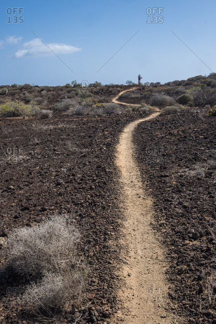 Trail leading through a plain to a distant lighthouse