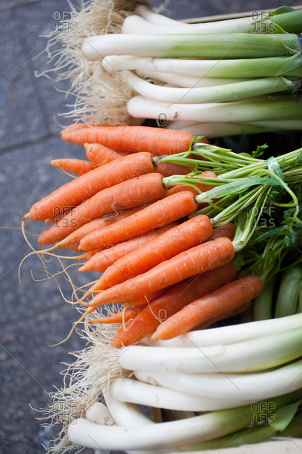 Carrots and leeks in bunches