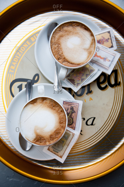 Rome, Italy - January 11, 2008: Two coffee drinks on platter