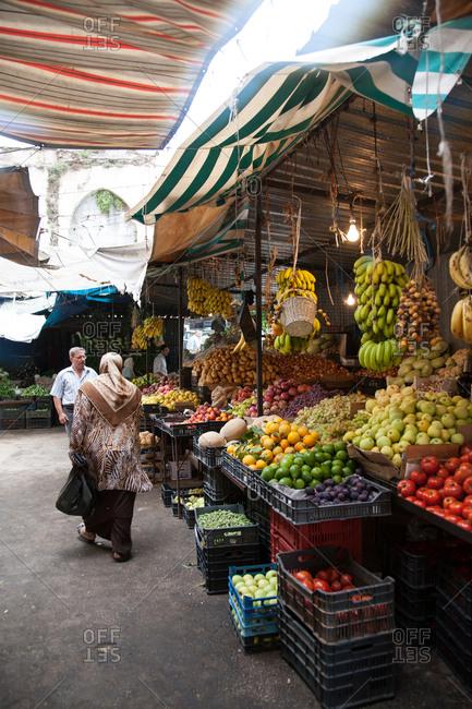 Beirut, Lebanon - September 14, 2008: People browsing in a market