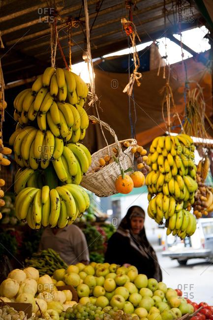 Beirut, Lebanon - September 14, 2008: Woman at a fruit market