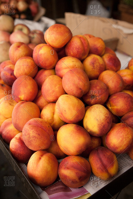 Beirut, Lebanon - September 14, 2008: Peaches for sale in market
