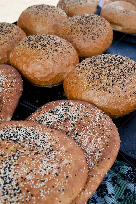 Baked loaves of bread in market, Lebanon