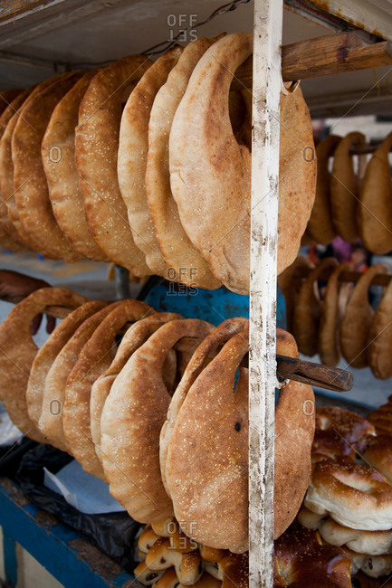 Pita bread hanging in market
