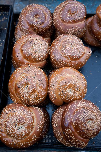 Twisted breads in market, Lebanon