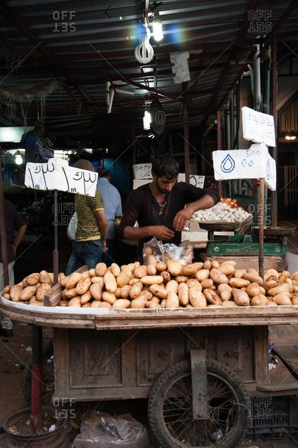 Beirut, Lebanon - September 15, 2008: Potato vendor at Sabra market
