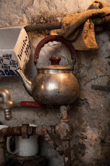 Beirut, Lebanon - September 15, 2008: Tea kettle on a pipe