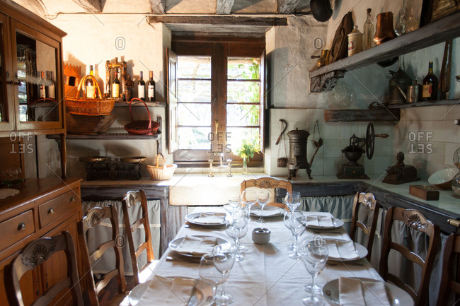 Basque Country, Spain - January 29, 2007: Table set in rustic farmhouse kitchen