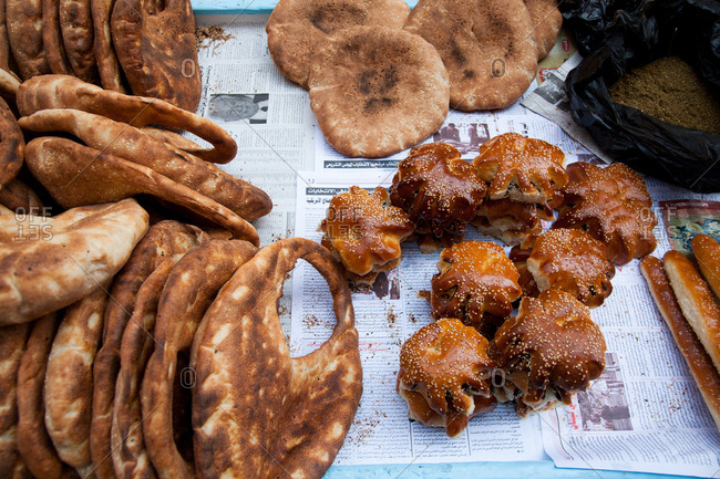 Beirut, Lebanon - September 15, 2008: Pita and breads in market