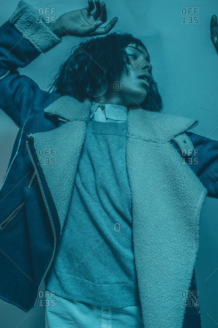 Model in a blue tint