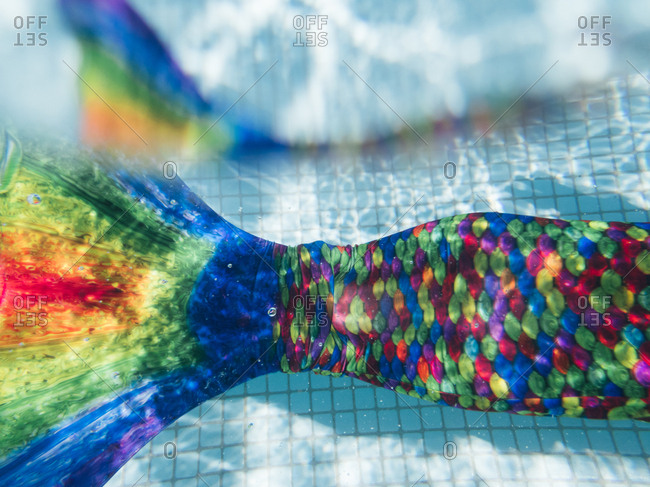 View of colorful mermaid tail underwater in a pool