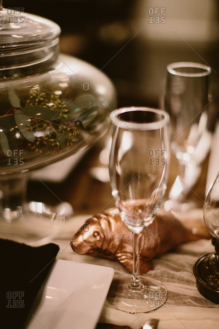 Dining table setting and golden seal decor