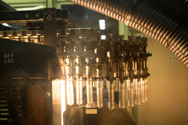 Test tube machine in factory