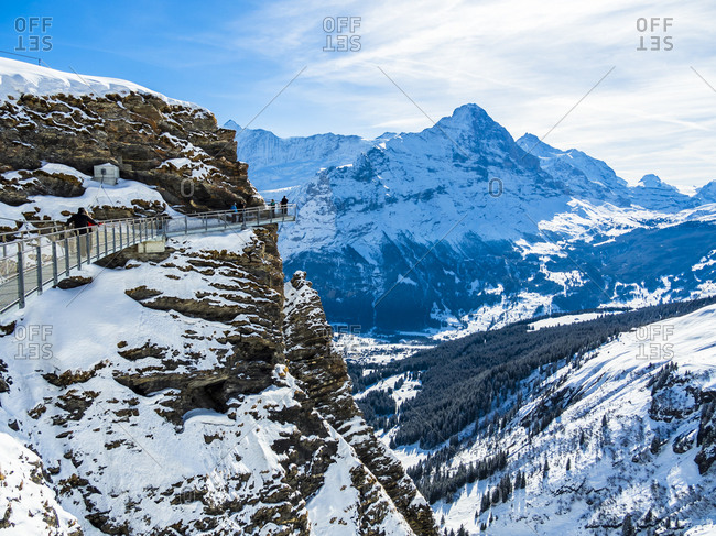 Eiger stock photos offset switzerland canton of bern grindelwald view from first cliff walk on eiger and reheart Images