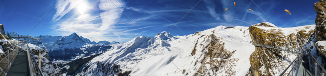 Switzerland- Canton of Bern- Grindelwald- view from First Cliff Walk on Eiger and mountainside of the Reeti