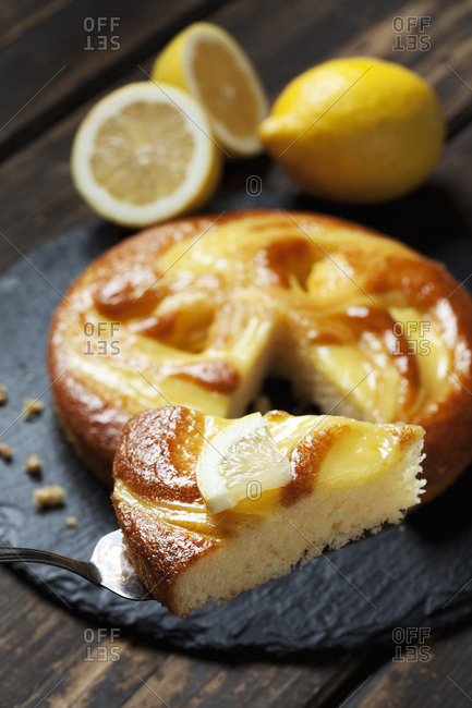 Piece of lemon creme cake
