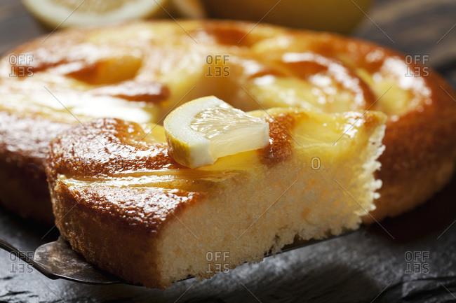 Piece of lemon creme cake