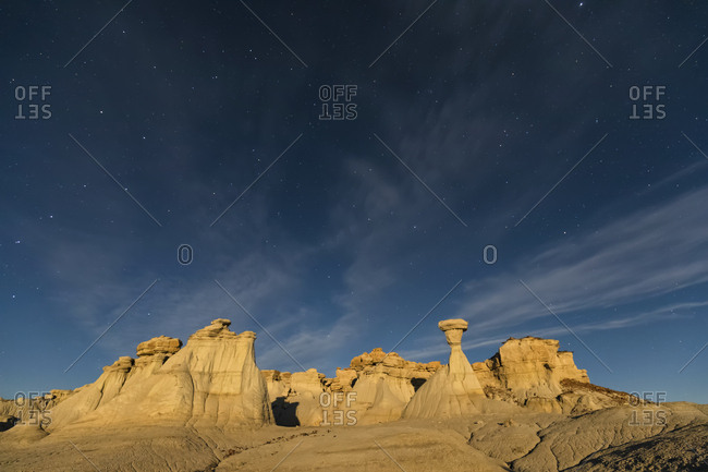 USA- New Mexico- San Juan Basin- Valley of Dreams- Badlands- Ah-shi-sle-pah Wash- sandstone rock formation- hoodoos at night