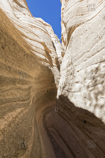USA- New Mexico- Pajarito Plateau- Sandoval County- Kasha-Katuwe Tent Rocks National Monument- slot canyon