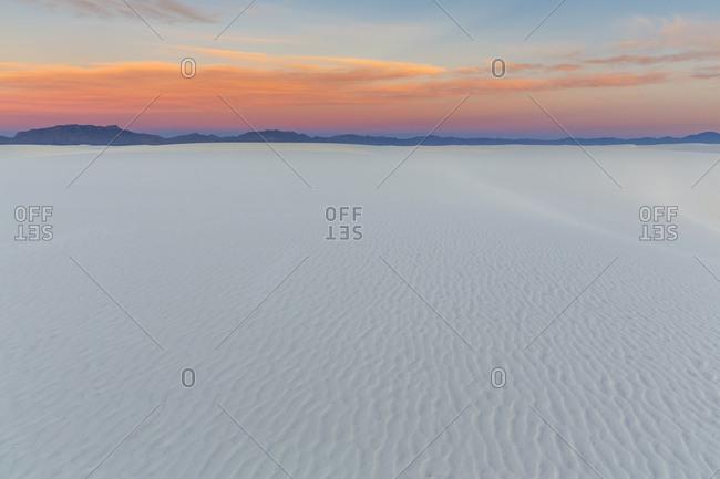 USA- New Mexico- Chihuahua Desert- White Sands National Monument- landscape at sunrise