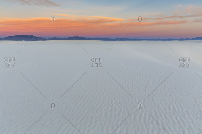 USA- New Mexico- Chihuahua Desert- White Sands National Monument- landscape at sunrise