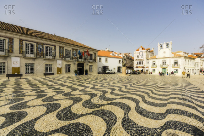 Cascais, Portugal - February 22, 2017: Wide angle view of town square