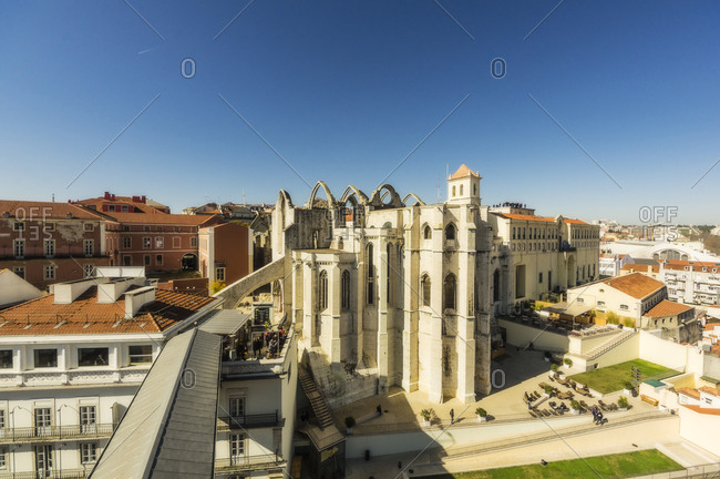 Lisbon, Portugal - February 20, 2016: Convento do Carmo as seen from Elevador de Santa Justa