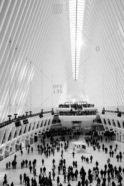 New York, New York, USA - December 3, 2016: Many people inside the Oculus at the World Trade Center PATH station