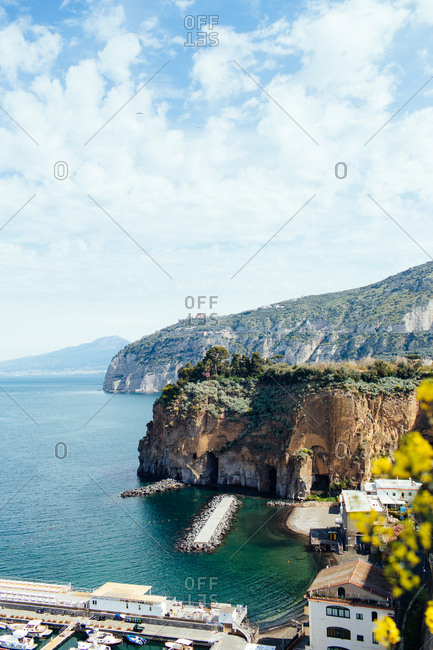 Harbor and coastline in the city of Piano di Sorrento, Italy