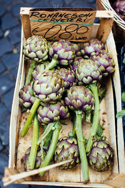 Artichokes for sale at a Roman farmers market