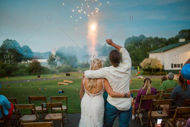 Wedding reception with fireworks