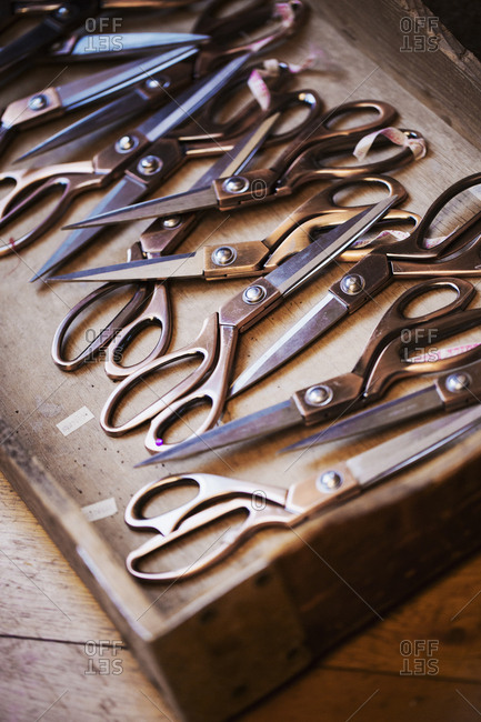 A tray of old dressmakers scissors of various sizes, some with angled blades