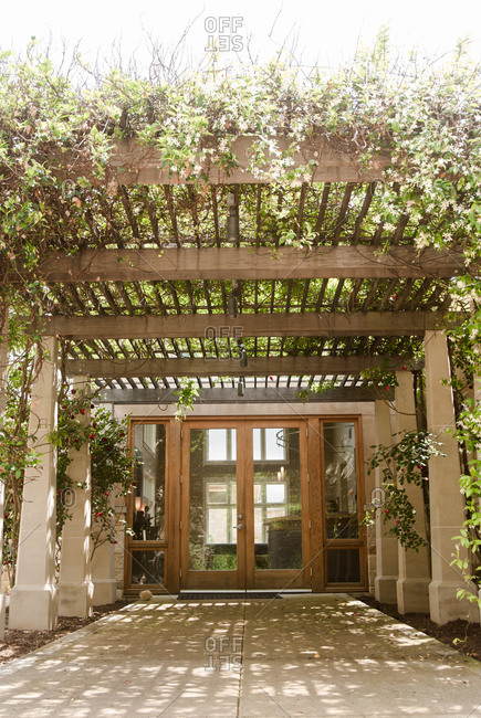 Vine covered portico on building