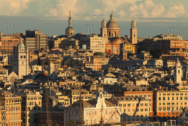 Liguria, Italy - April 12, 2012: Cityscape, Genoa, Liguria, Italy, Europe
