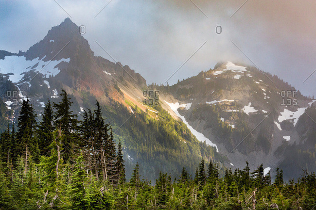 Dramatic light on the rugged Tatoosh Range near Mount Rainier, part of the Cascade Range, Pacific Northwest region, Washington State, United States of America, North America