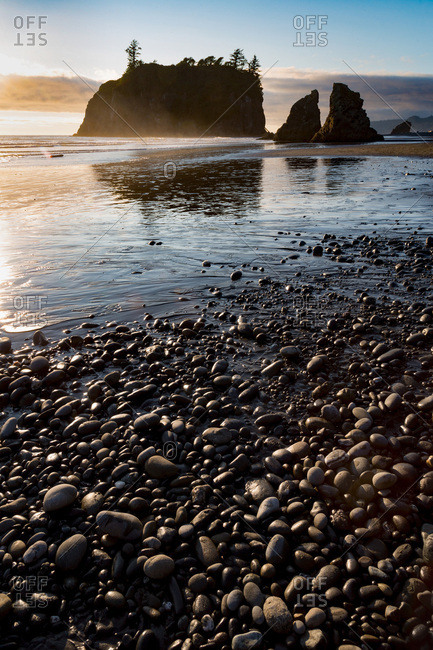 Evening light on Ruby Beach in the Olympic National Park, UNESCO World Heritage Site, Pacific Northwest coast, Washington State, United States of America, North America
