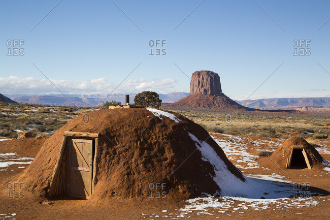 Navajo Hogan, Monument Valley Navajo Tribal Park, Utah, United States of America, North America