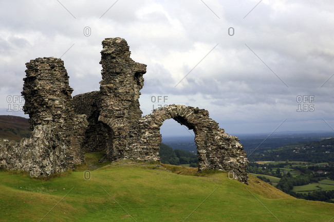 The ruins of Dinas Bran, a medieval castle near Llangollen, Denbighshire, Wales, United Kingdom, Europe