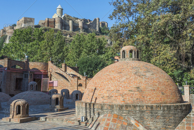 Sulphur bath cupola, Narikala Fortress and St. Nicholas Church, Tbilisi, Georgia, Caucasus, Asia