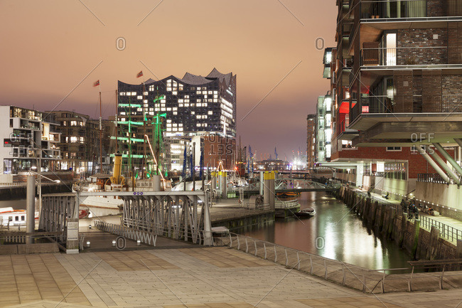 Magellan Terrassen terraces, Sandtorhafen port, Elbphilharmonie, , Hamburg, Hanseatic City, Germany, Europe