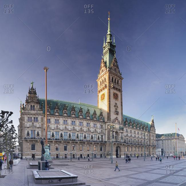 Hamburg, Germany - December 30, 2016: Rathaus (city hall) at Rathausmarkt place, Hamburg, Hanseatic City, Germany, Europe