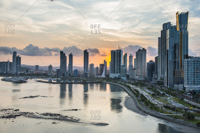 Panama City, Panama - April 8, 2016: Skyline of Panama City at sunset, Panama City, Panama, Central America