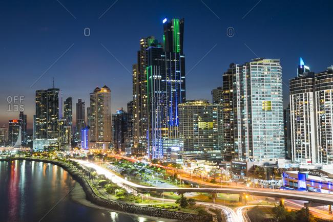 Panama City, Panama - April 14, 2016: The skyline of Panama City at night, Panama City, Panama, Central America