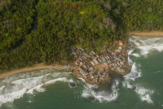 Aerial of a tiny village, San Blas Islands, Kuna Yala, Panama, Central America
