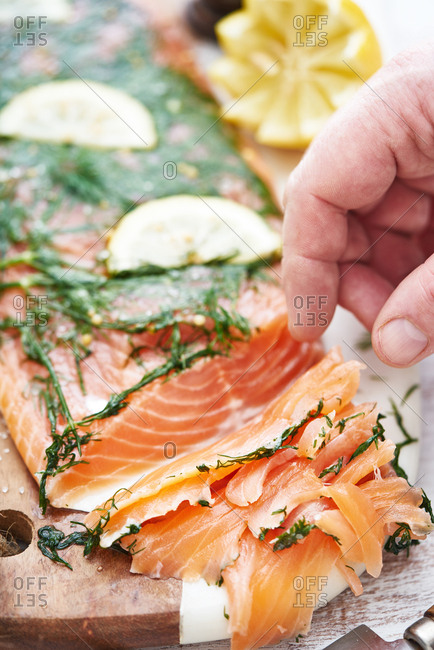 Salmon with dill thinly sliced