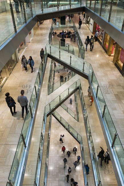 January 2, 2017 - Melbourne, Australia: People in a multi-storied shopping mall