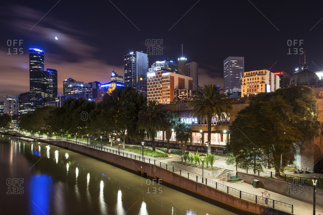 January 3, 2017 - Melbourne, Australia: Yarra River waterfront at night