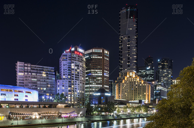 January 3, 2017 - Melbourne, Australia: Skyscrapers and waterfront at night