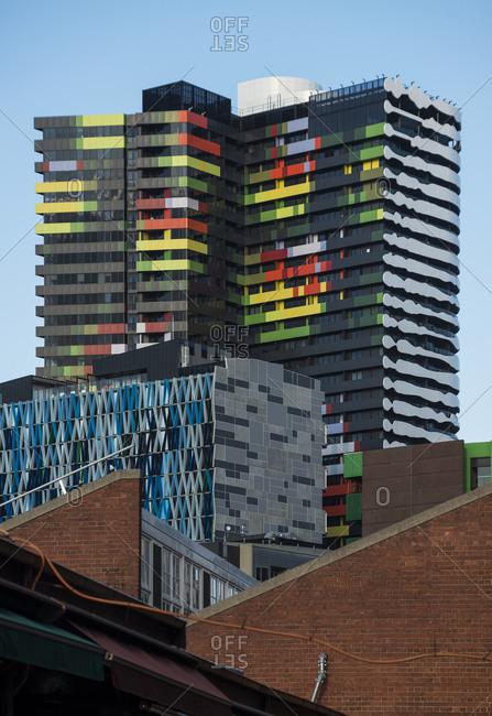 January 4, 2017 - Melbourne, Australia: Colorful architectural details on buildings