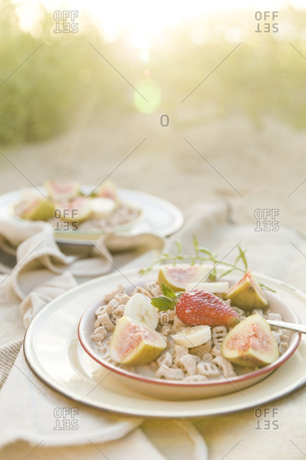 Bowls of cereal with fresh fruit served at campsite